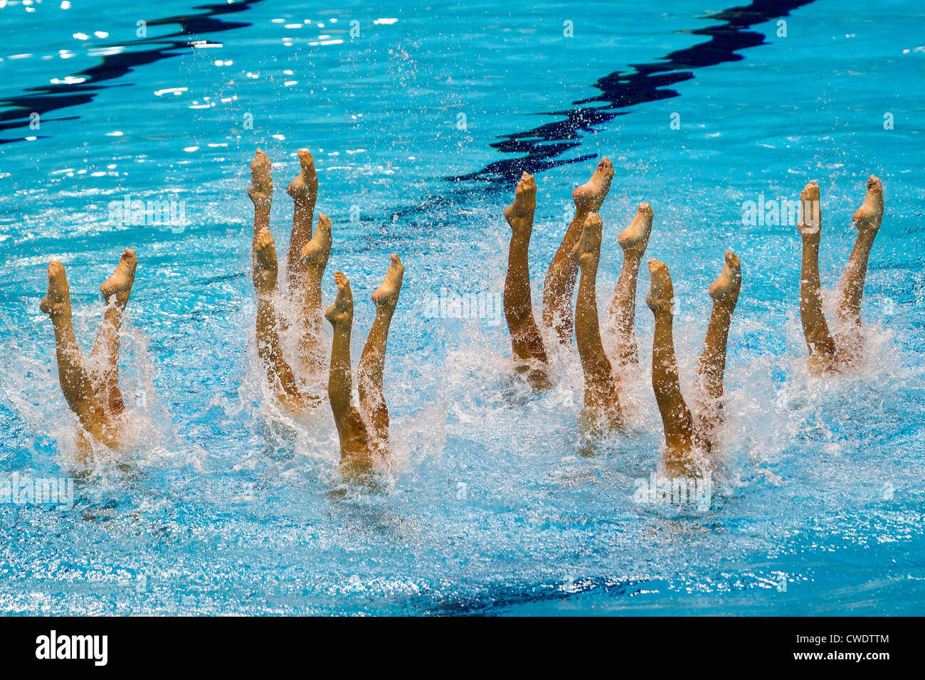 Synchronized Swimming team at the Olympic Summer Games, London 2012 - Stock Image