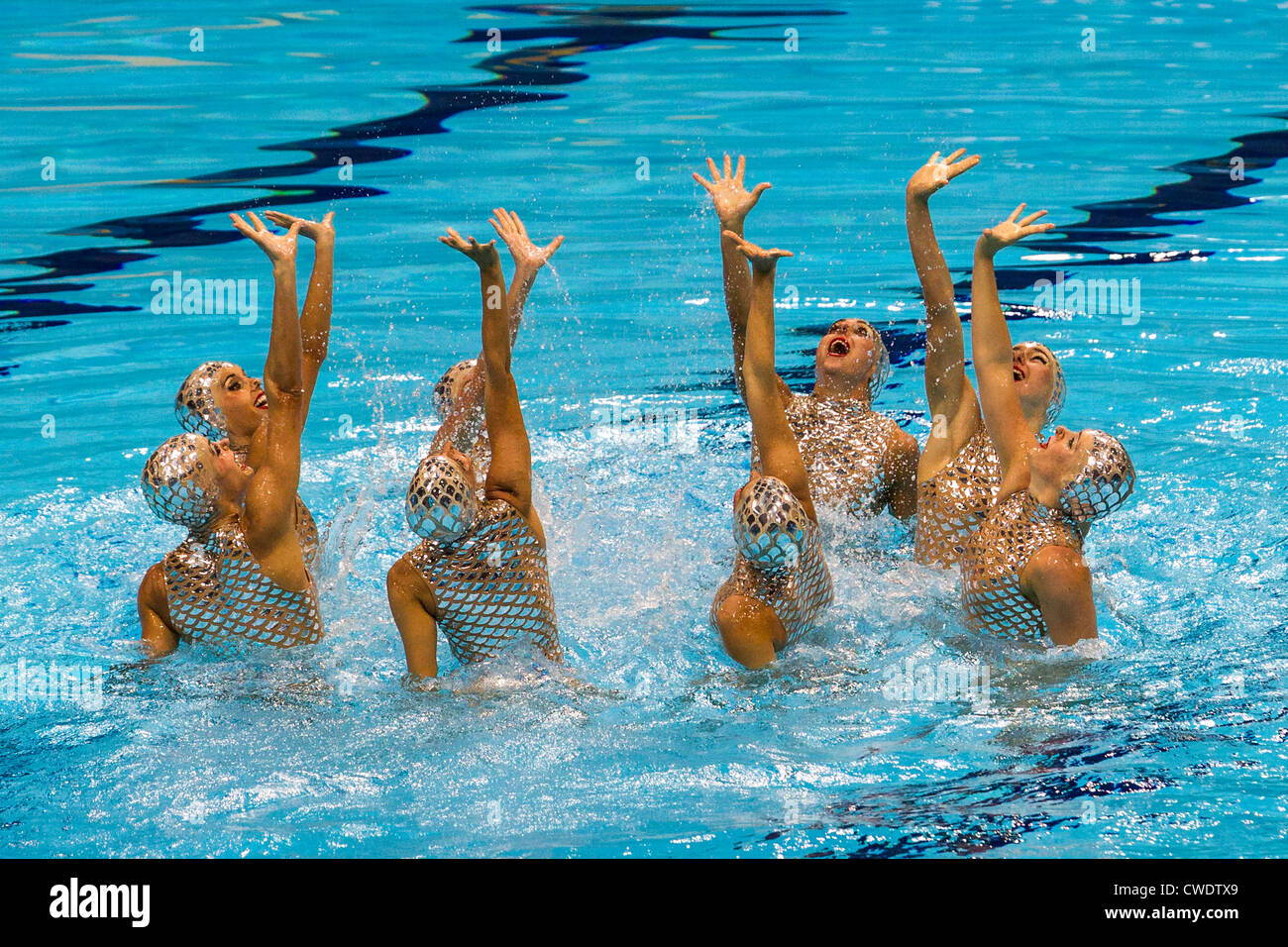 Spanish Synchronized Swimming team at the Olympic Summer Games, London 2012 - Stock Image