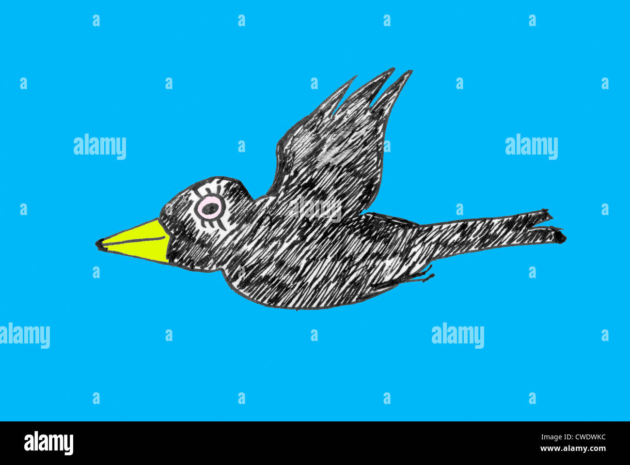 Flying bird cartoon black and white - photo#30