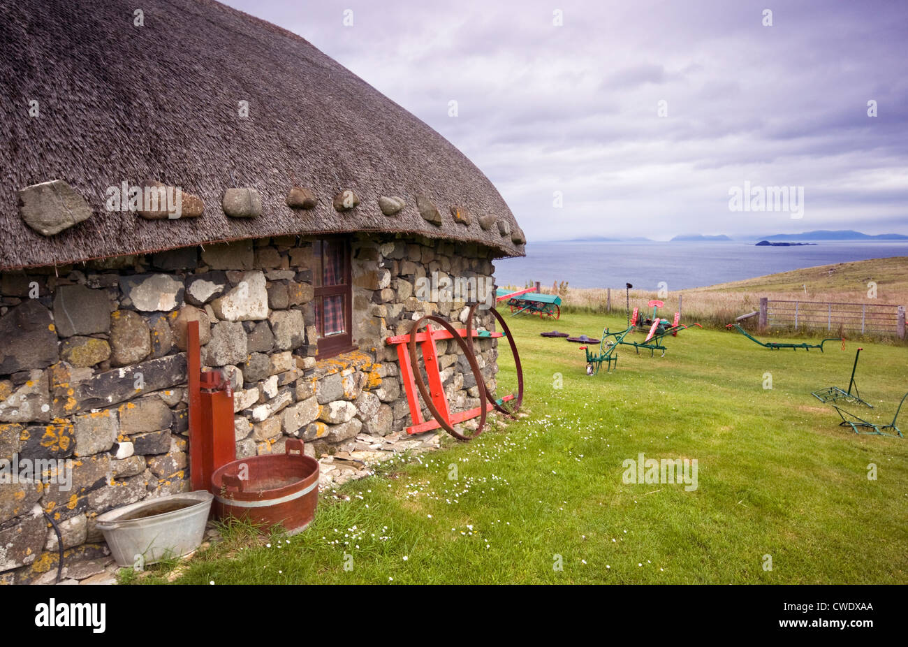 A traditional croft building at the Museum of Island Life on the Isle of Skye, Scotland, UK - Stock Image