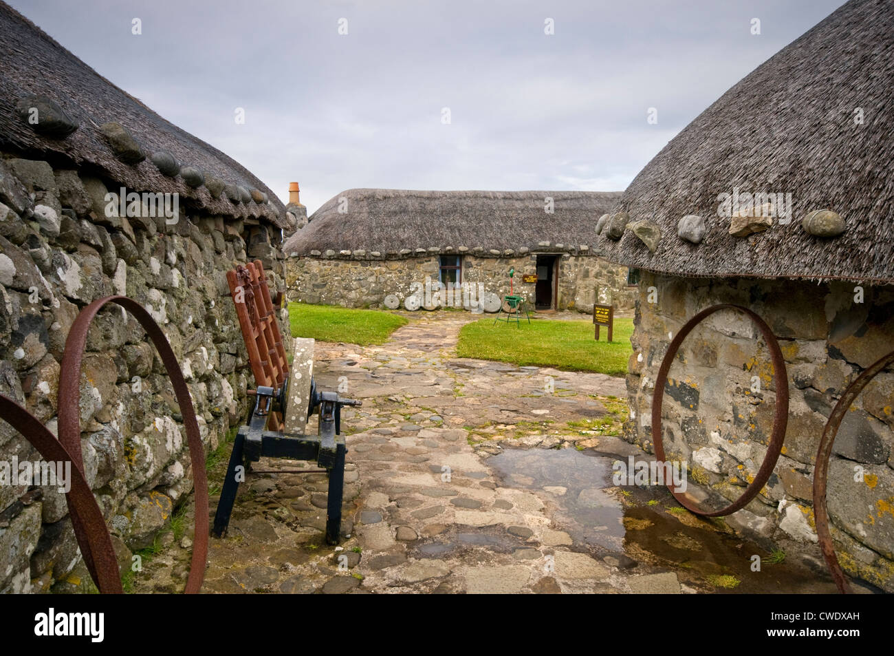Traditional croft buildings at the Museum of Island Life on the Isle of Skye, Scotland, UK - Stock Image