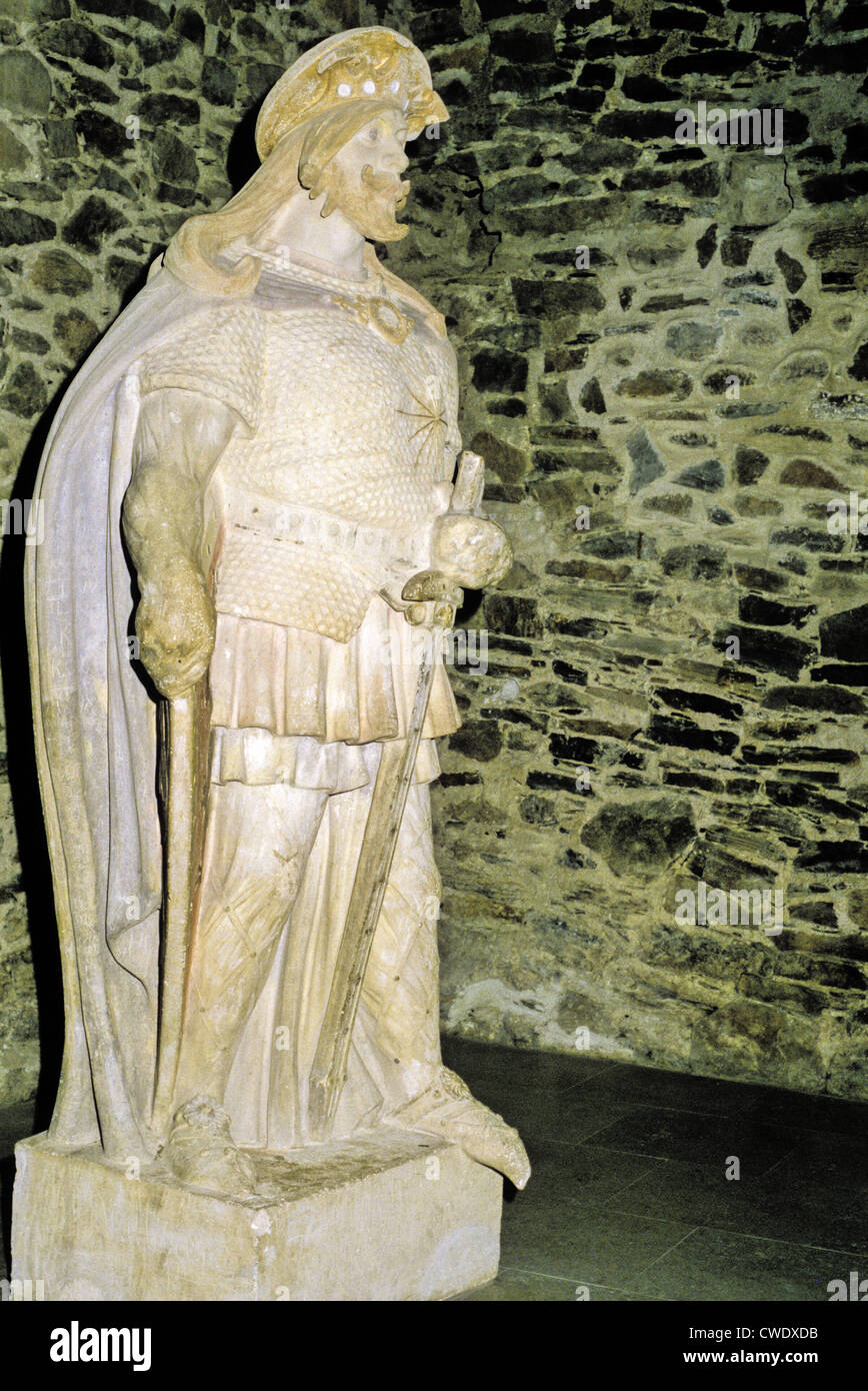 Sculpture of St. Olaf II in the Central Hall of the 15th century medieval fortress Olavinlinna in Savonlinna, Finland - Stock Image