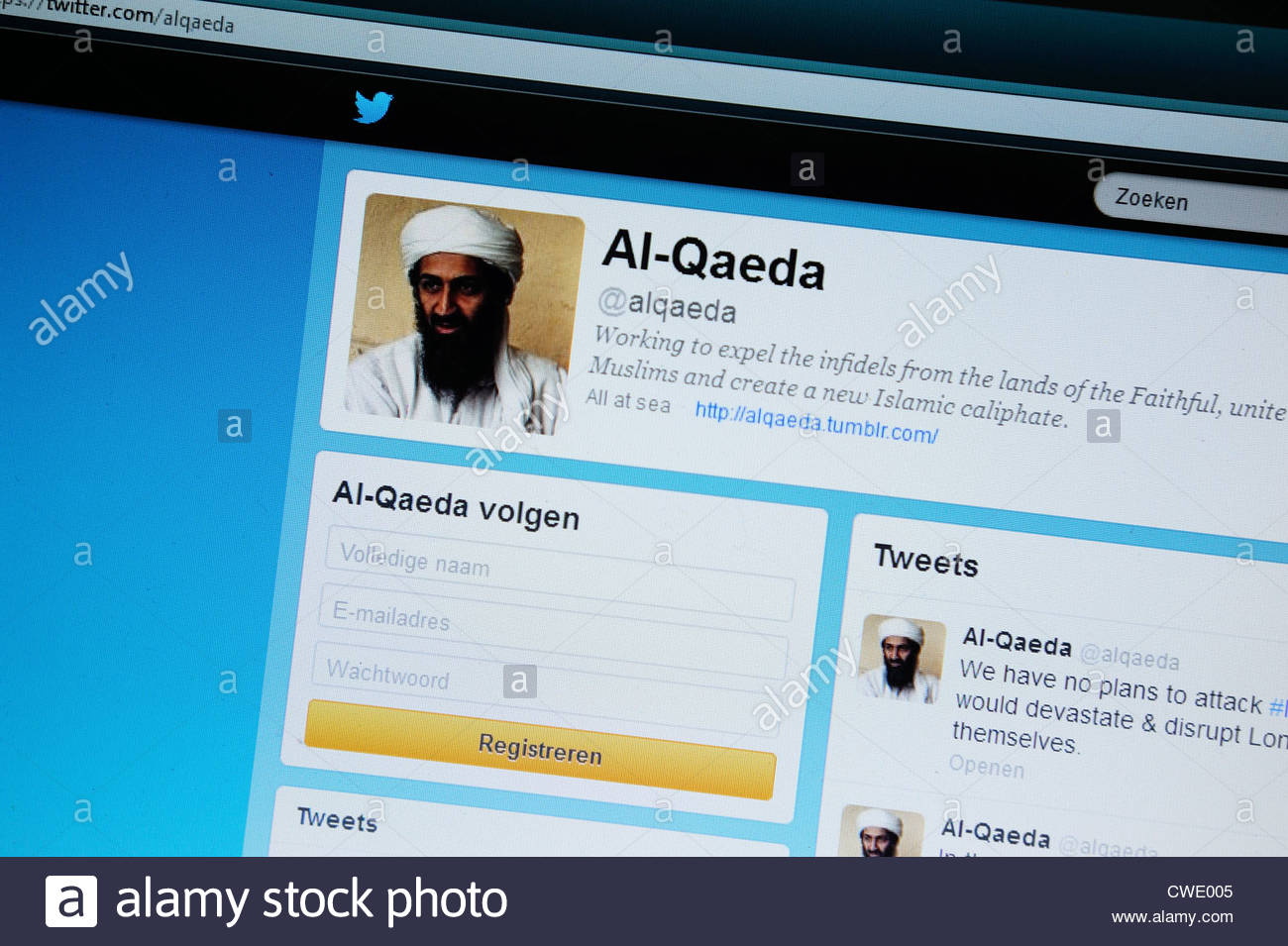 Website twitter account supposedly from Al-Qaeda. - Stock Image