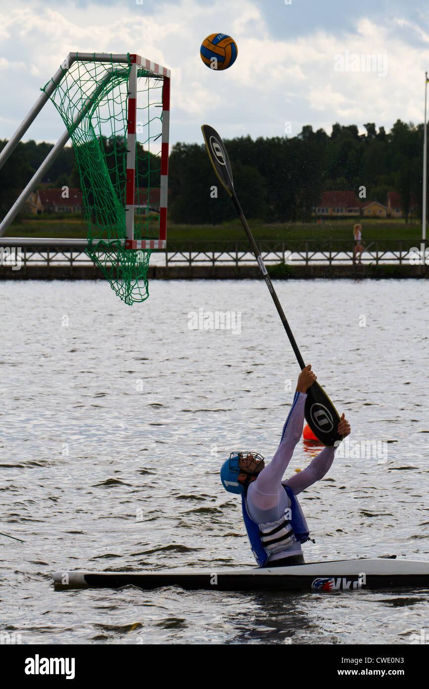 Kayak (canoe) polo tournament. - Stock Image