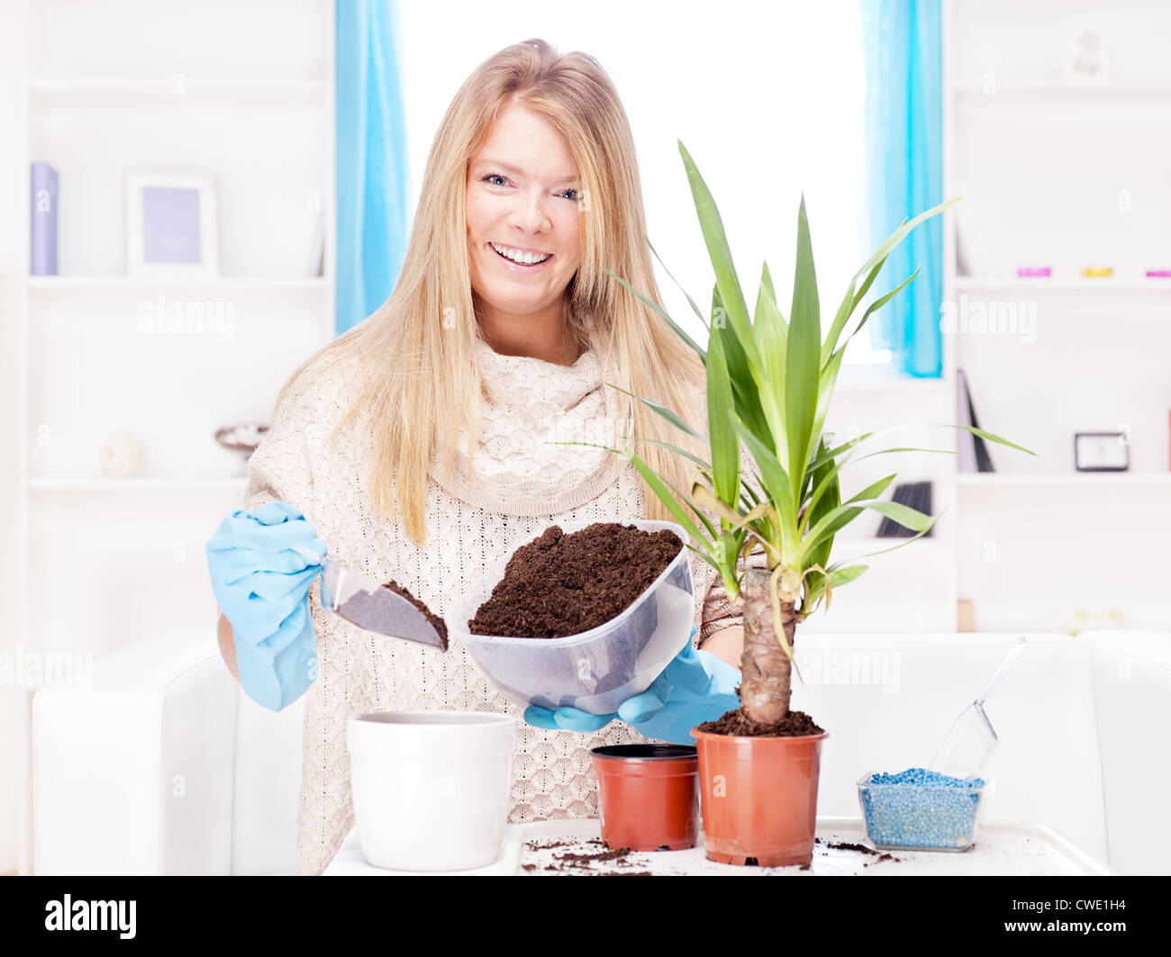 Happy blond woman transplant plant in a bigger pot - Stock Image