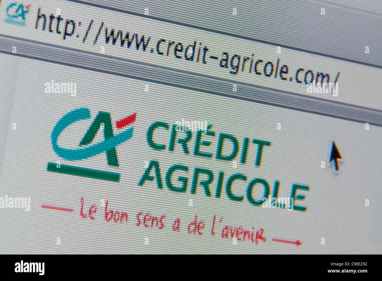 Close up of the Crédit Agricole logo as seen on its website. (Editorial use only: print, TV, e-book and - Stock Image