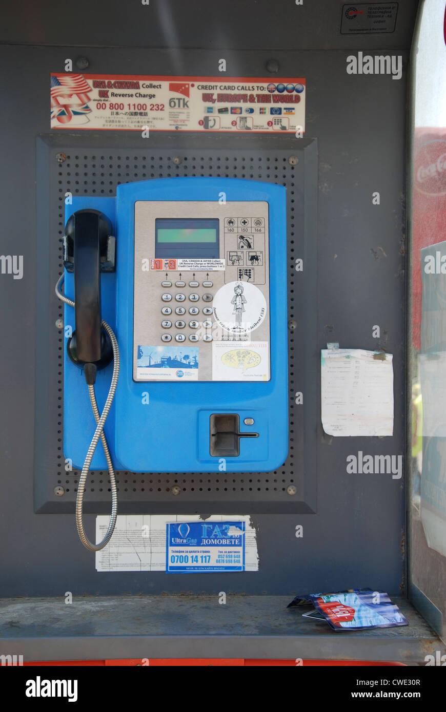 Bulgarian telephone kiosk Golden Sands Bulgaria - Stock Image