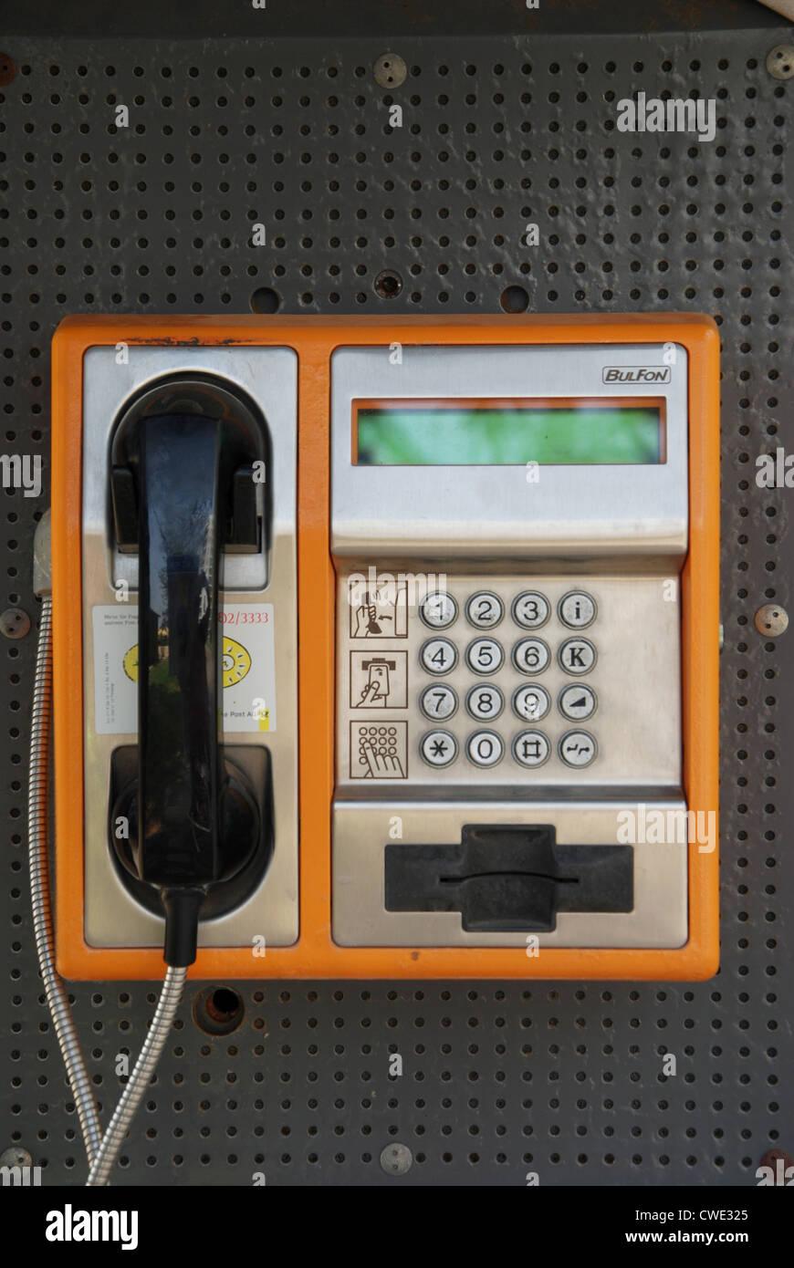 Bulgarian telephone kiosk at Golden Sands Bulgaria - Stock Image