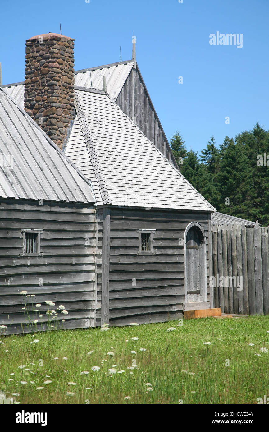 A reconstruction of the original Port Royal Habitation (1605) in the Annapolis Valley of Nova Scotia. - Stock Image