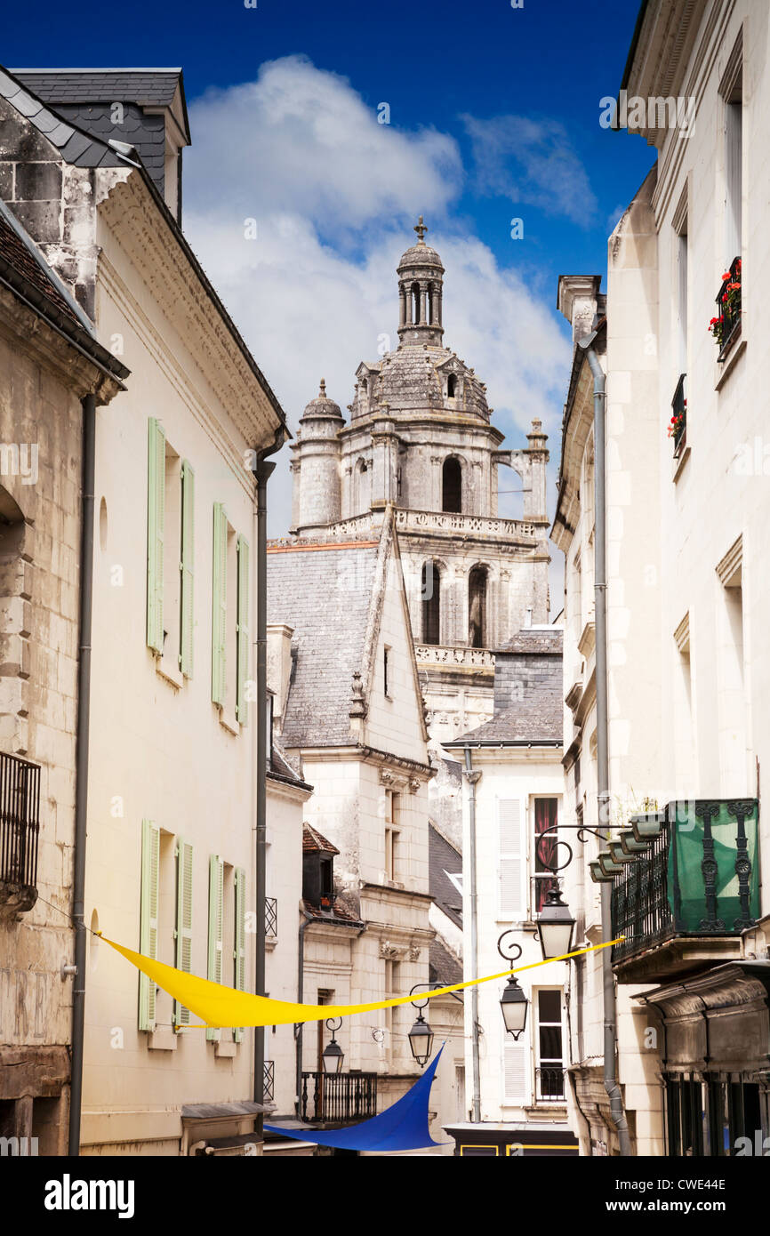 St Antoine Tower seen at the end of a medieval street in Loches, Loire Valley, France. - Stock Image