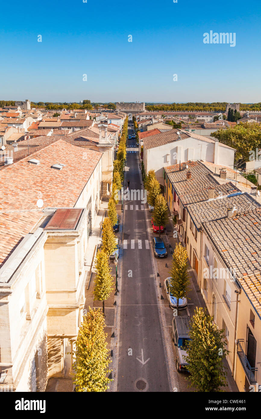 Boulevard Gambetta, Aigues-Mortes, Languedoc-Roussillon, viewed from the ramparts and looking towards the North - Stock Image