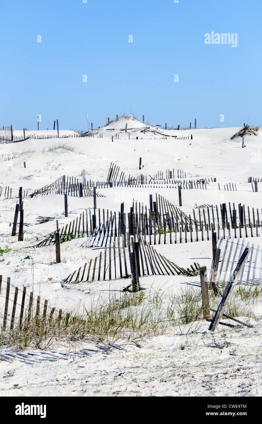 Series of sand fences for sand dune stabilization, restoration and rebuilding Outer Banks North Carolina - Stock Image