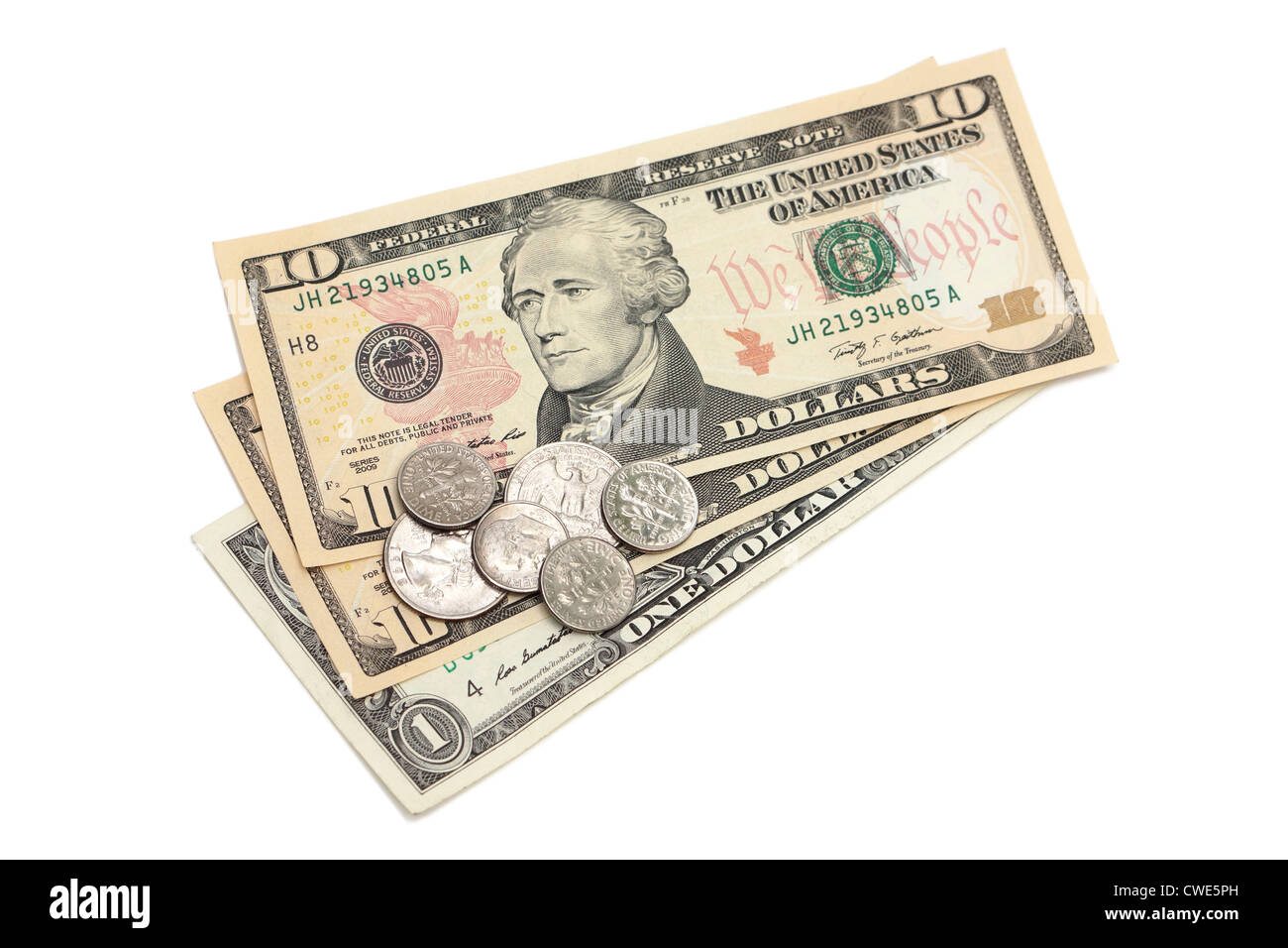 Dollar Bills, US Currency, Bank Notes - Stock Image