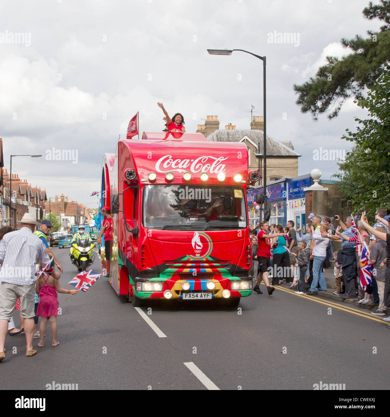 Olympic Torch Coca Cola Sponsorship Support Vehicle in Wincheap Canterbury Kent UK - Stock Image