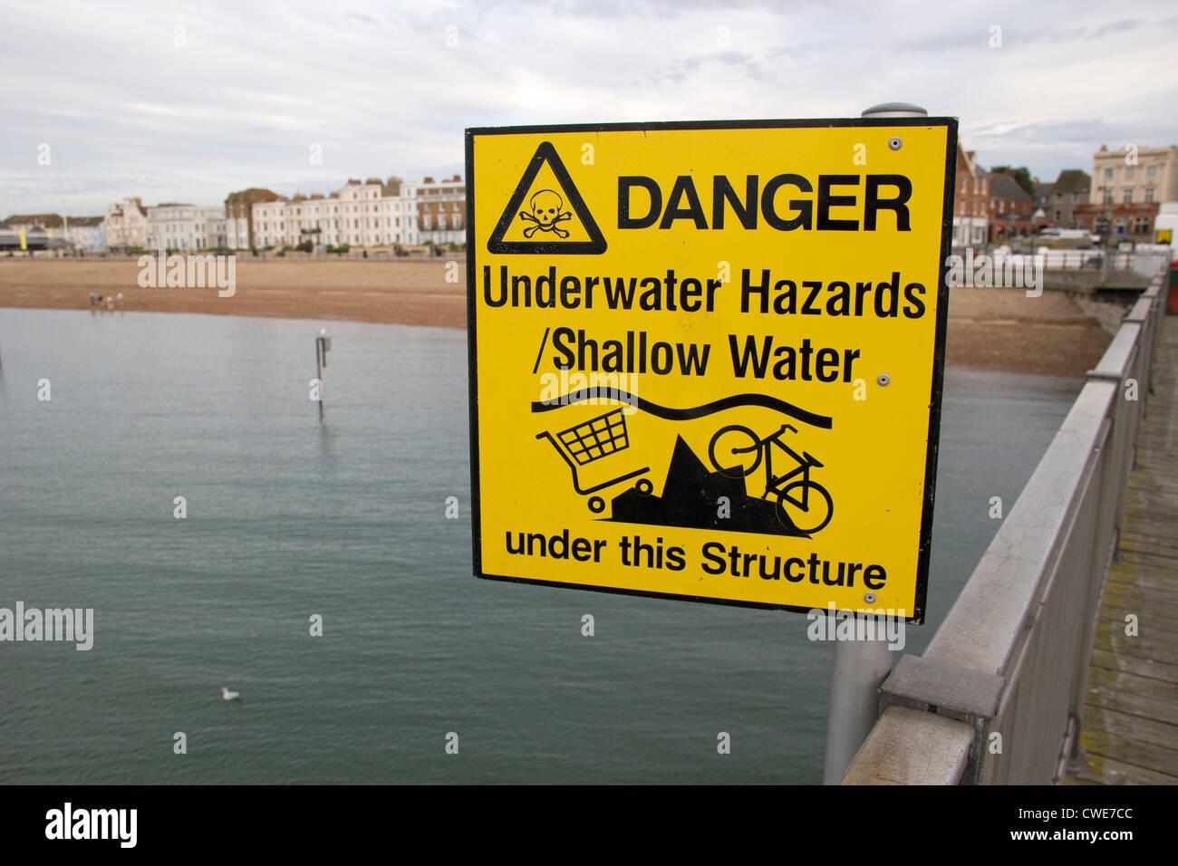 Warning sign, No Diving Herne Bay Pier Kent England UK Tombstoning, Underwater Hazards - Stock Image