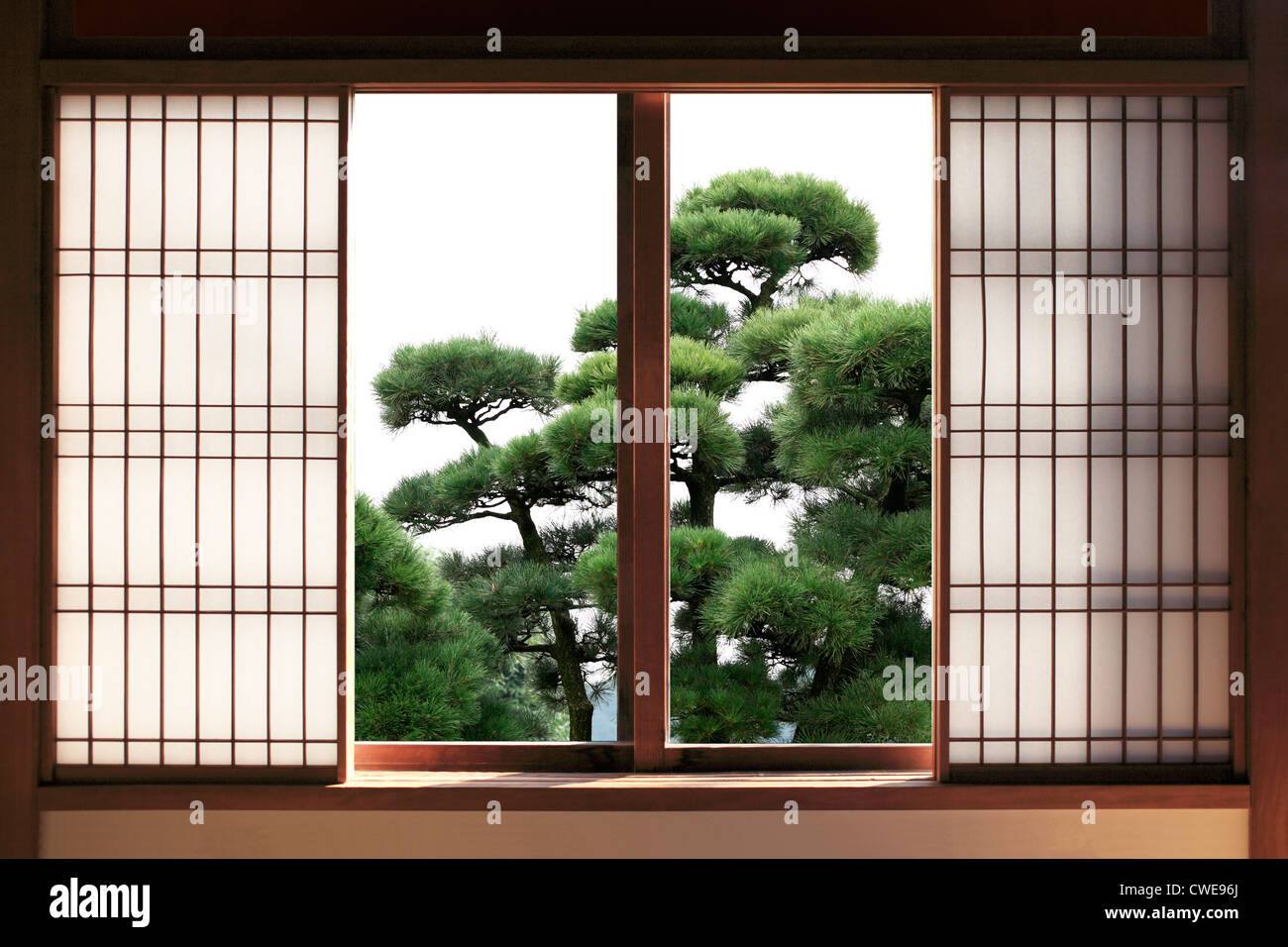 Open Japanese Sliding Door With Green Tree In Background & Open Japanese Sliding Door With Green Tree In Background Stock Photo ...