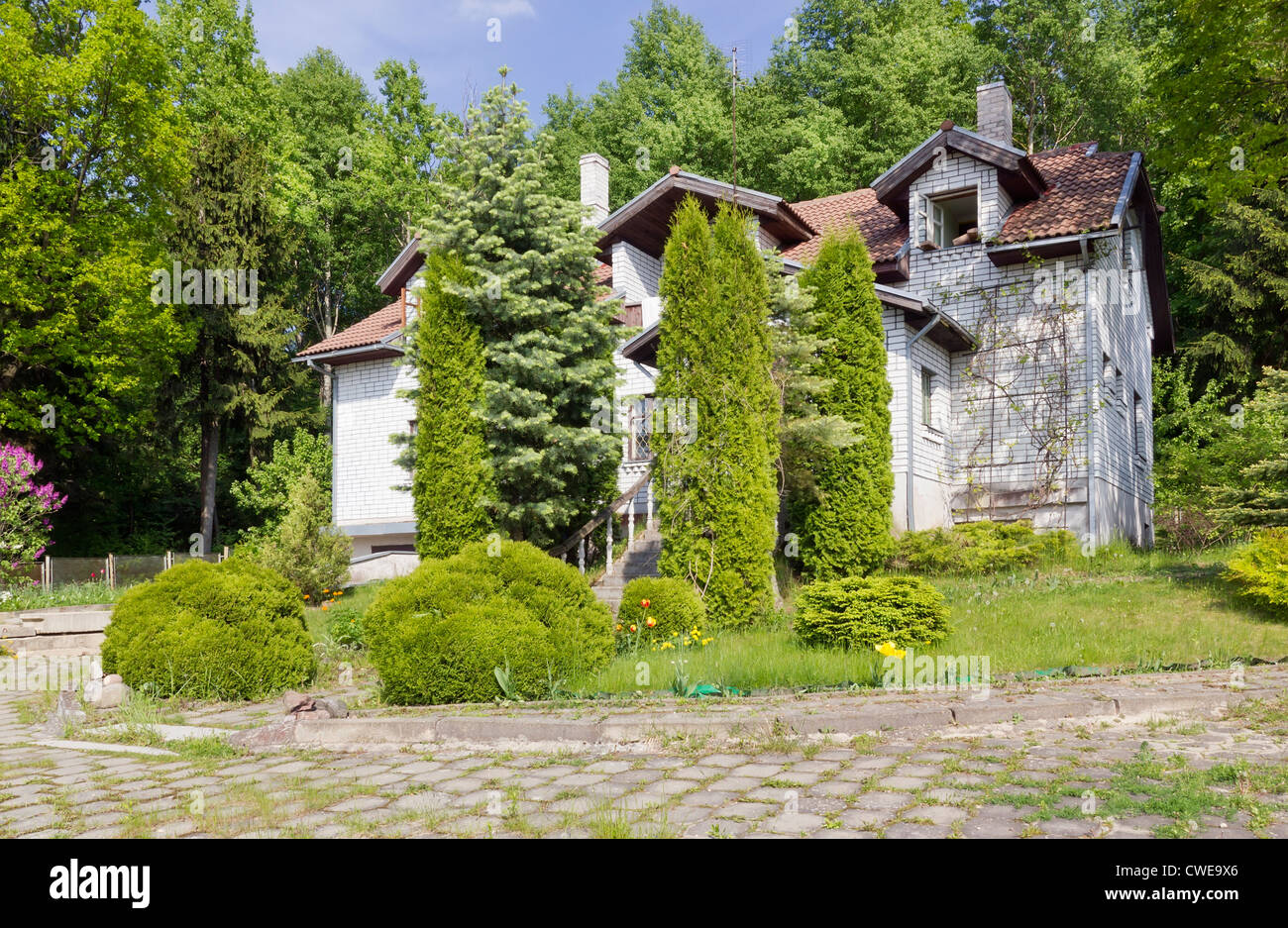 Abandoned unfinished no name mass production house ( villa) in the forest woods. Selective focus - Stock Image