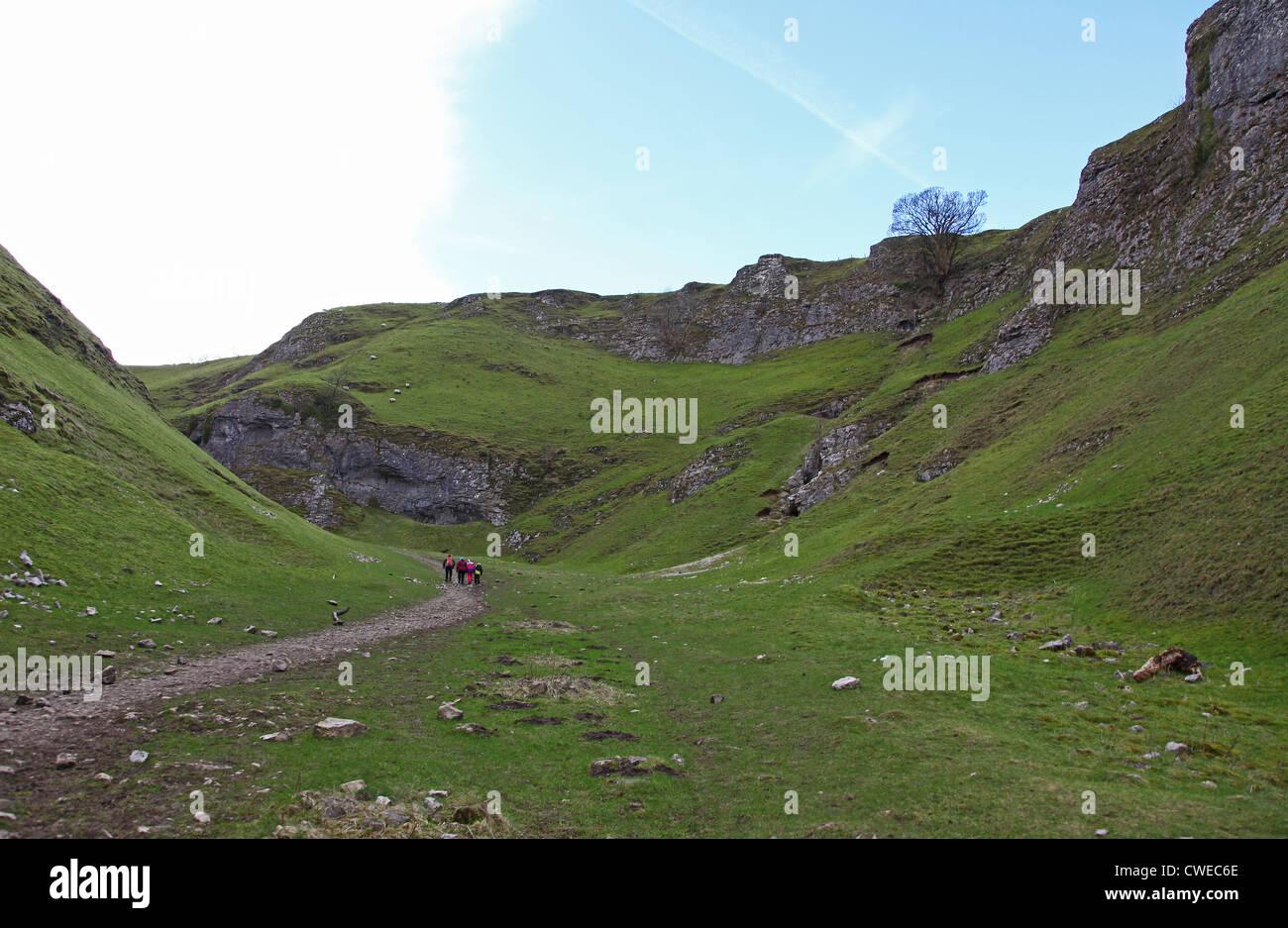 The Limestone Way at Cave Dale Castleton Derbyshire England UK - Stock Image