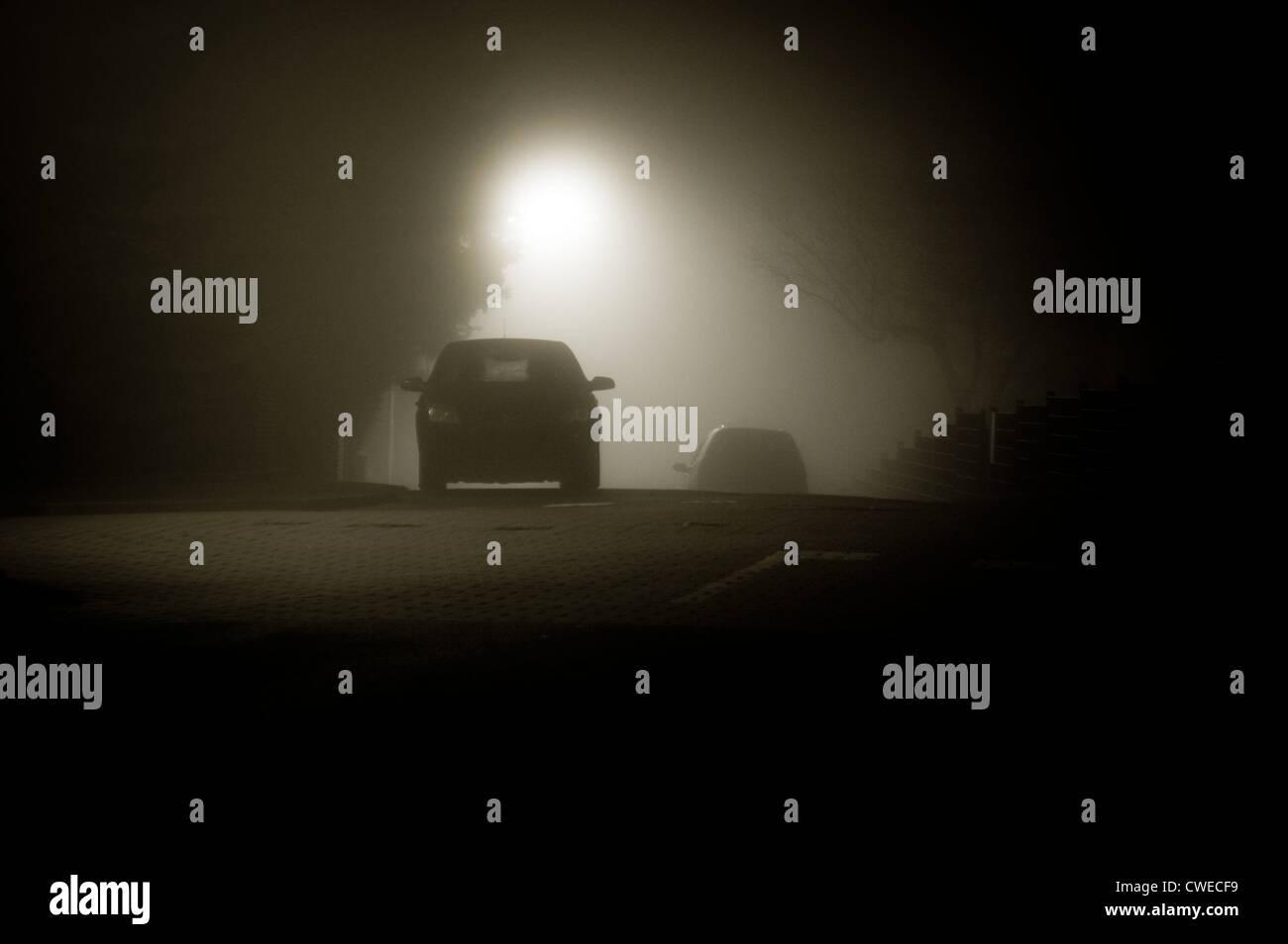 car,fog - Stock Image