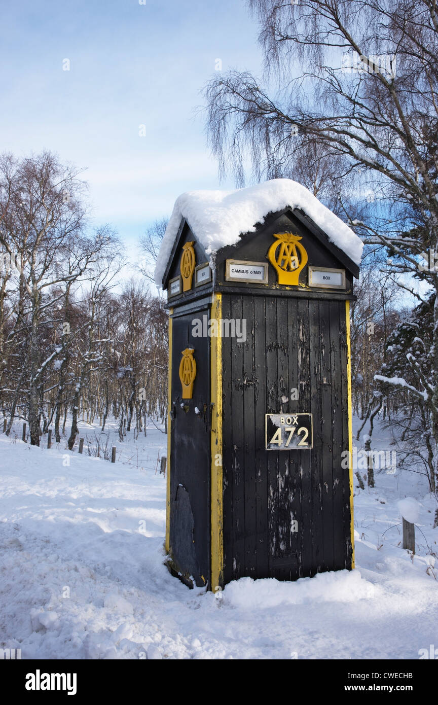 The AA telephone box on the A93 at Cambus o May, Aberdeenshire, Scotland, UK. - Stock Image