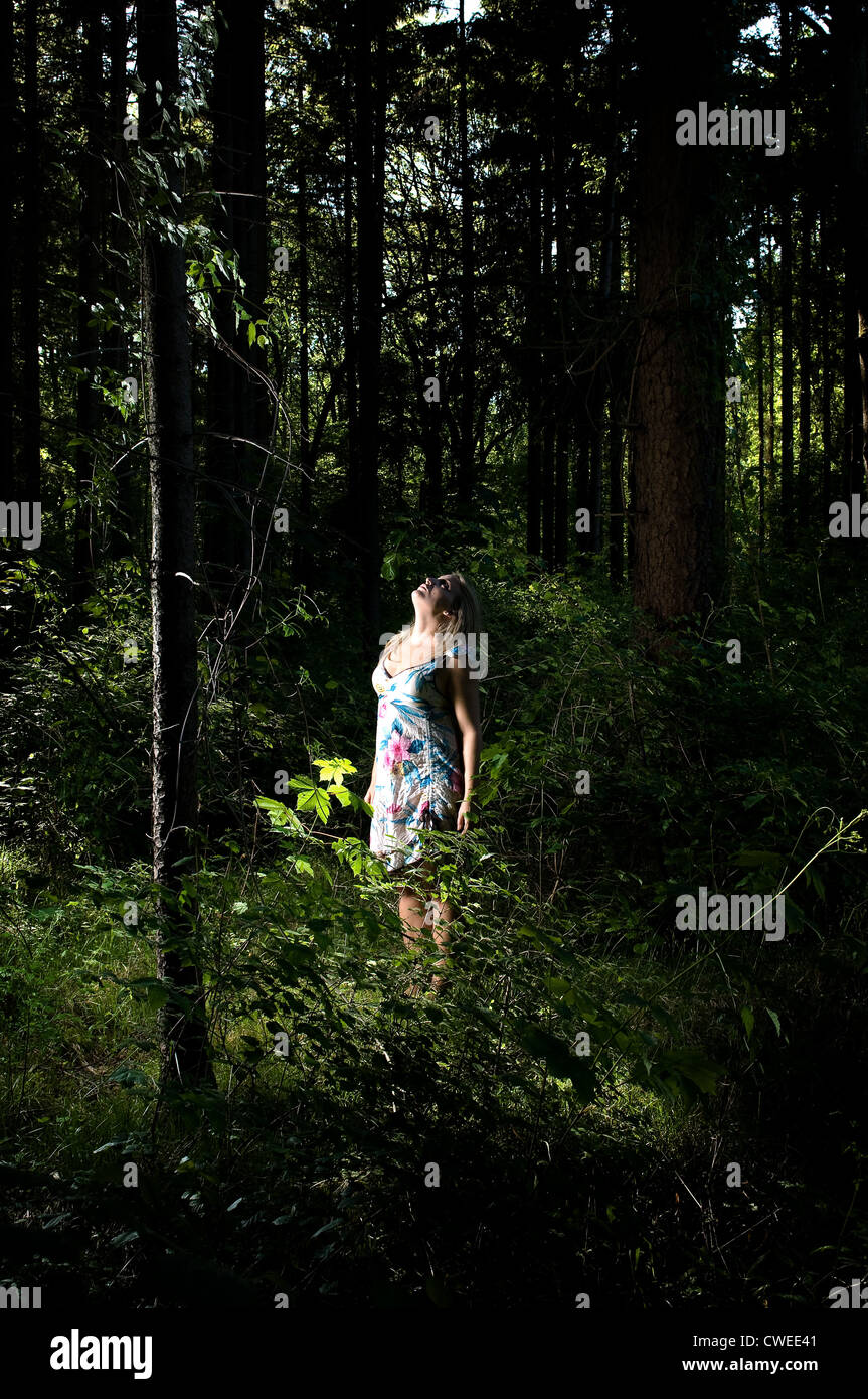 young woman,woman,forest - Stock Image