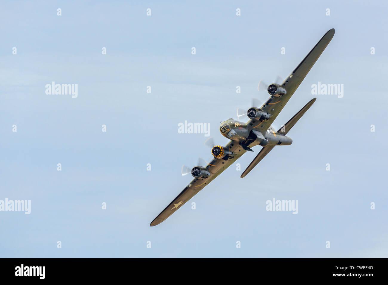 Memphis Belle Boeing B 17 bomber flying over Shoreham airfield Stock Photo