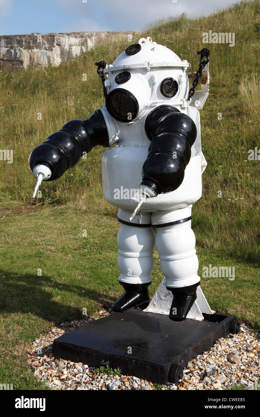 Atmospheric diving suit or ADS, Diving Museum, Stokes Bay Diving Museum, Stokes Bay, Hampshire, England - Stock Image
