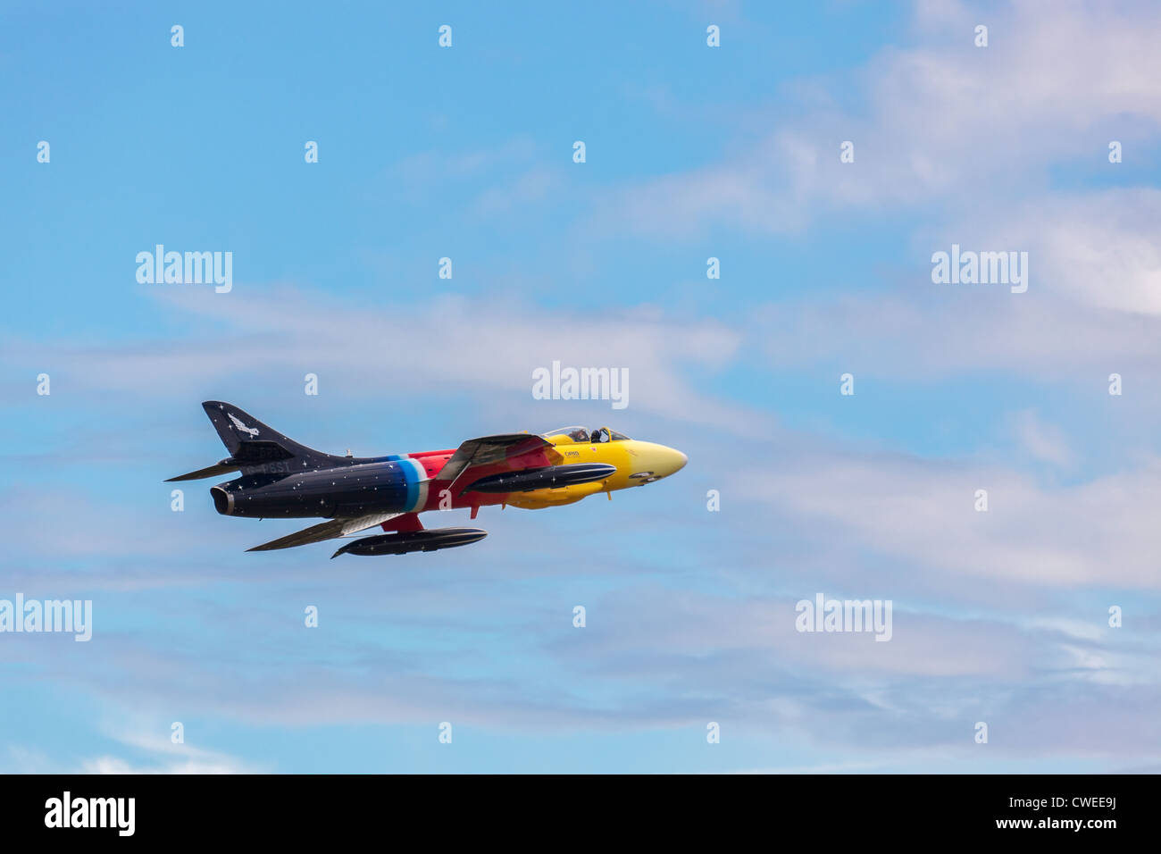 Hawker Hunter Miss Demeanour aerial display at Shoreham Airshow Stock Photo
