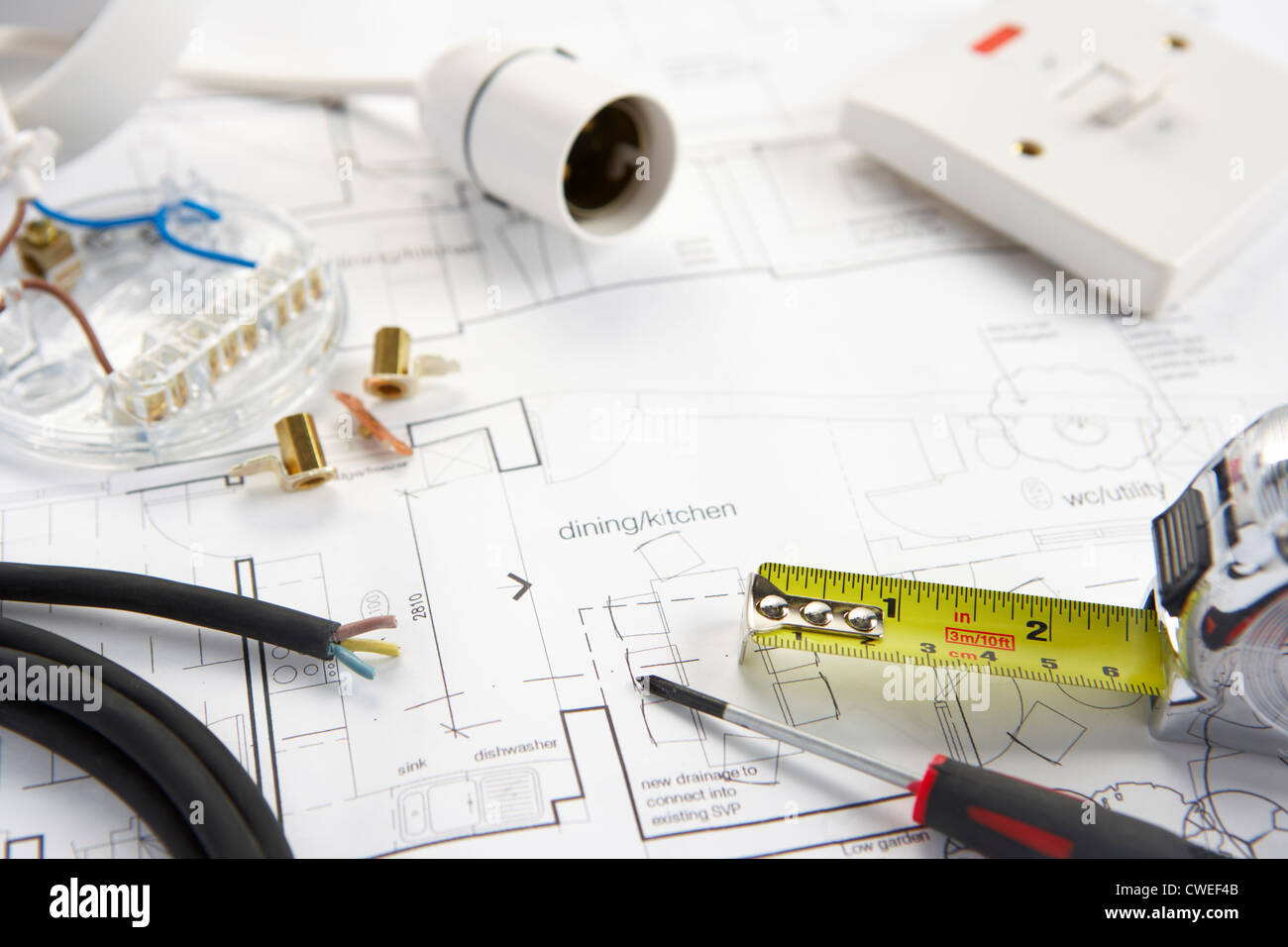 Wiring tools and materials - Stock Image