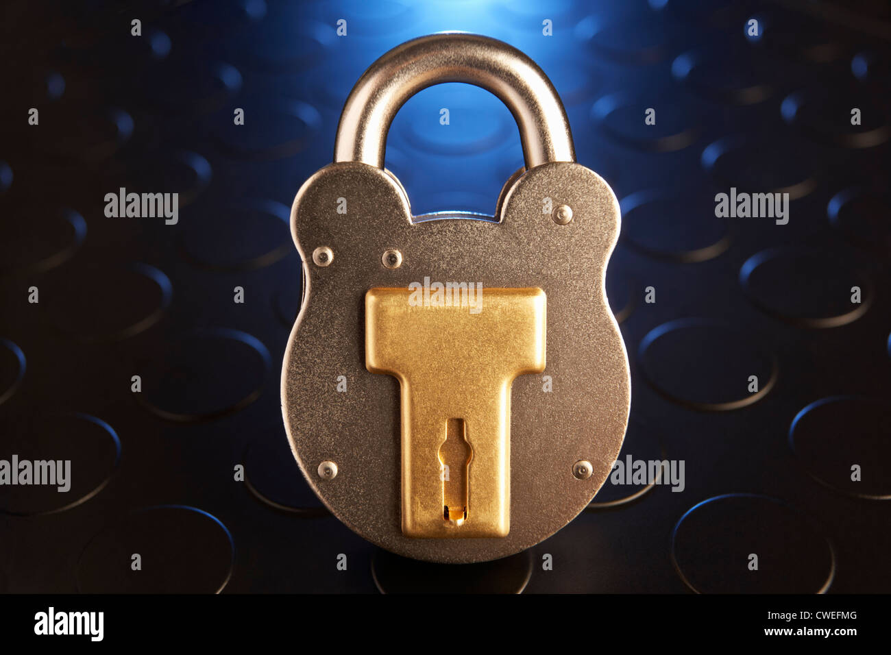 Golden padlock - Stock Image