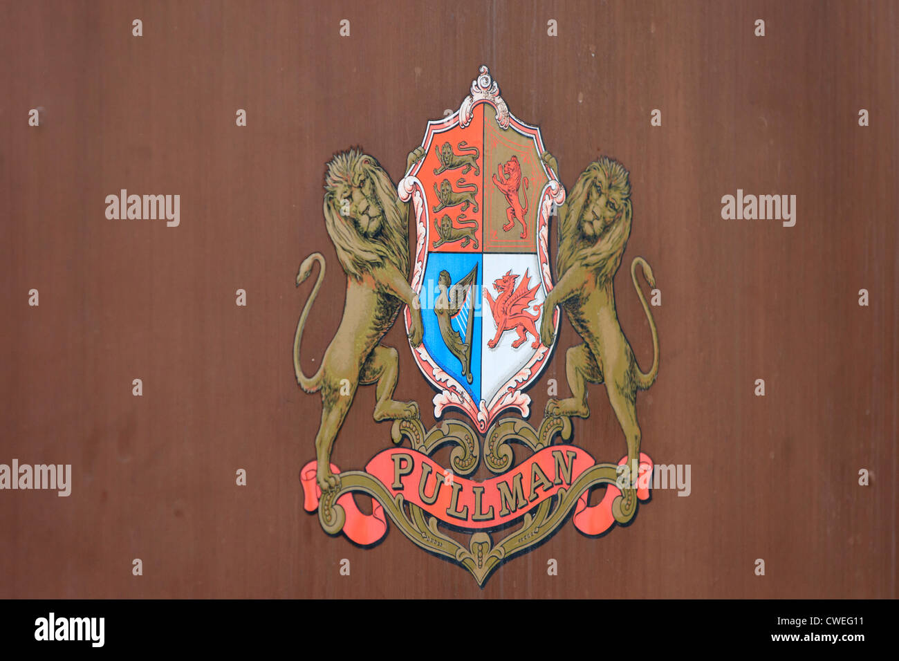 Pullman Crest on carriage on Colne Valley Railway - Stock Image