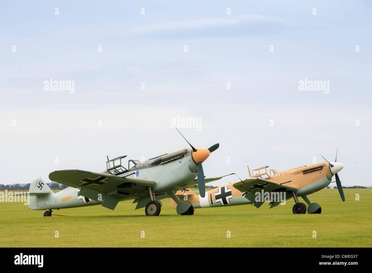 Pair of  Messerschmitt BF 109 at Duxford air show - Stock Image