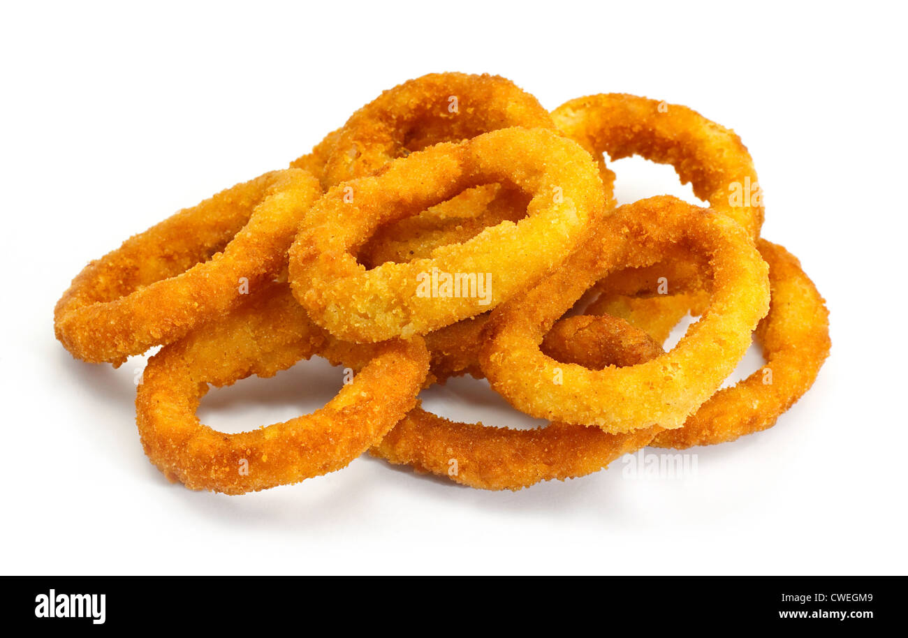golden crispy Onion rings coated with breadcrumbs and deep fried - Stock Image