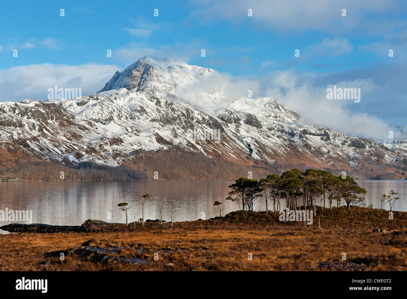 The mountain Slioch and Loch Maree, Wester Ross, Highland, Scotland, UK. - Stock Image