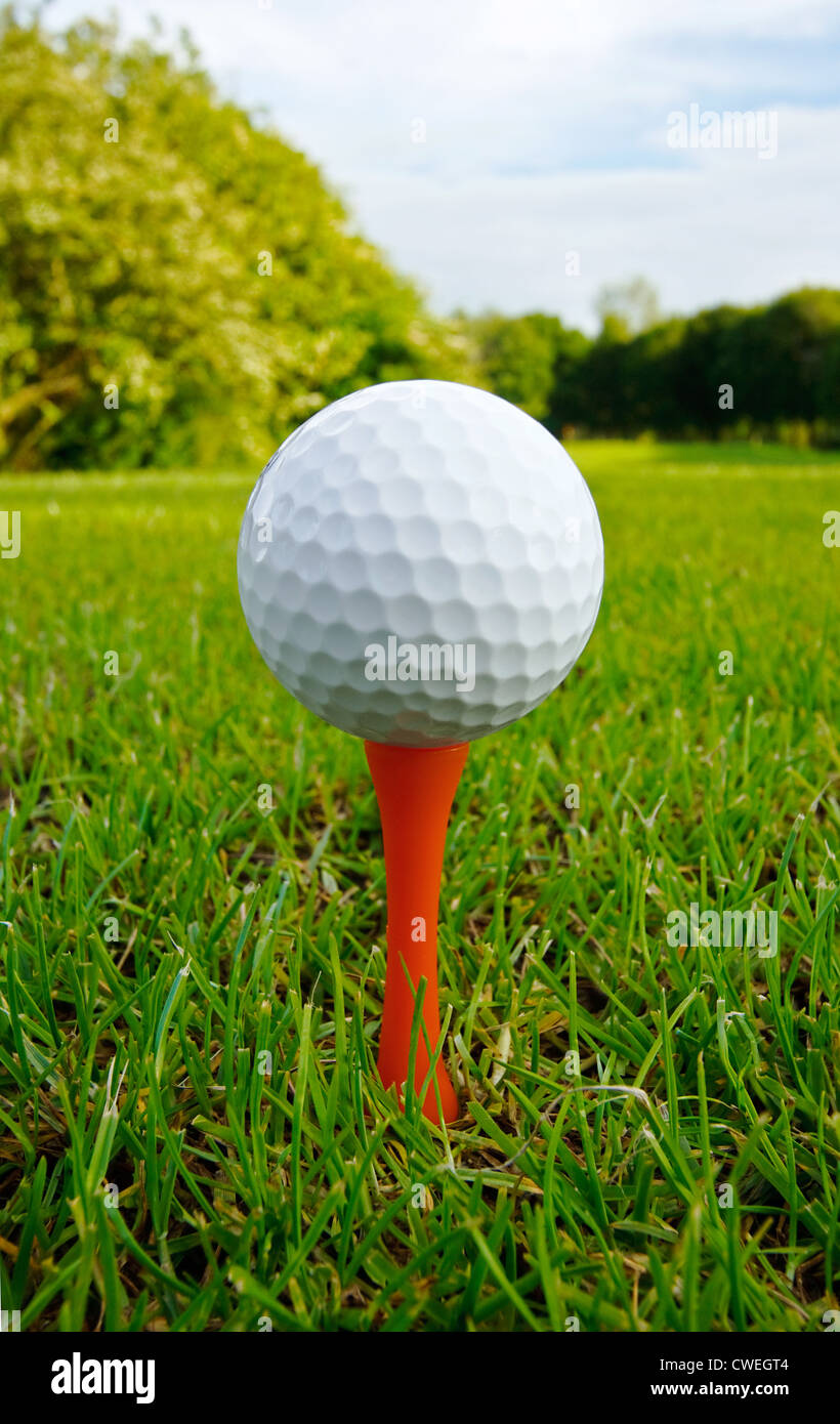 Golf ball on tee close up with fairway and flag in distance - Stock Image
