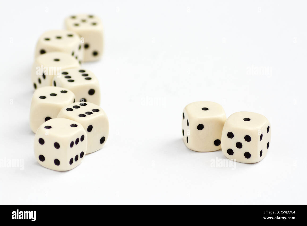 White dice frame edge with focus on double one or snake eyes - Stock Image