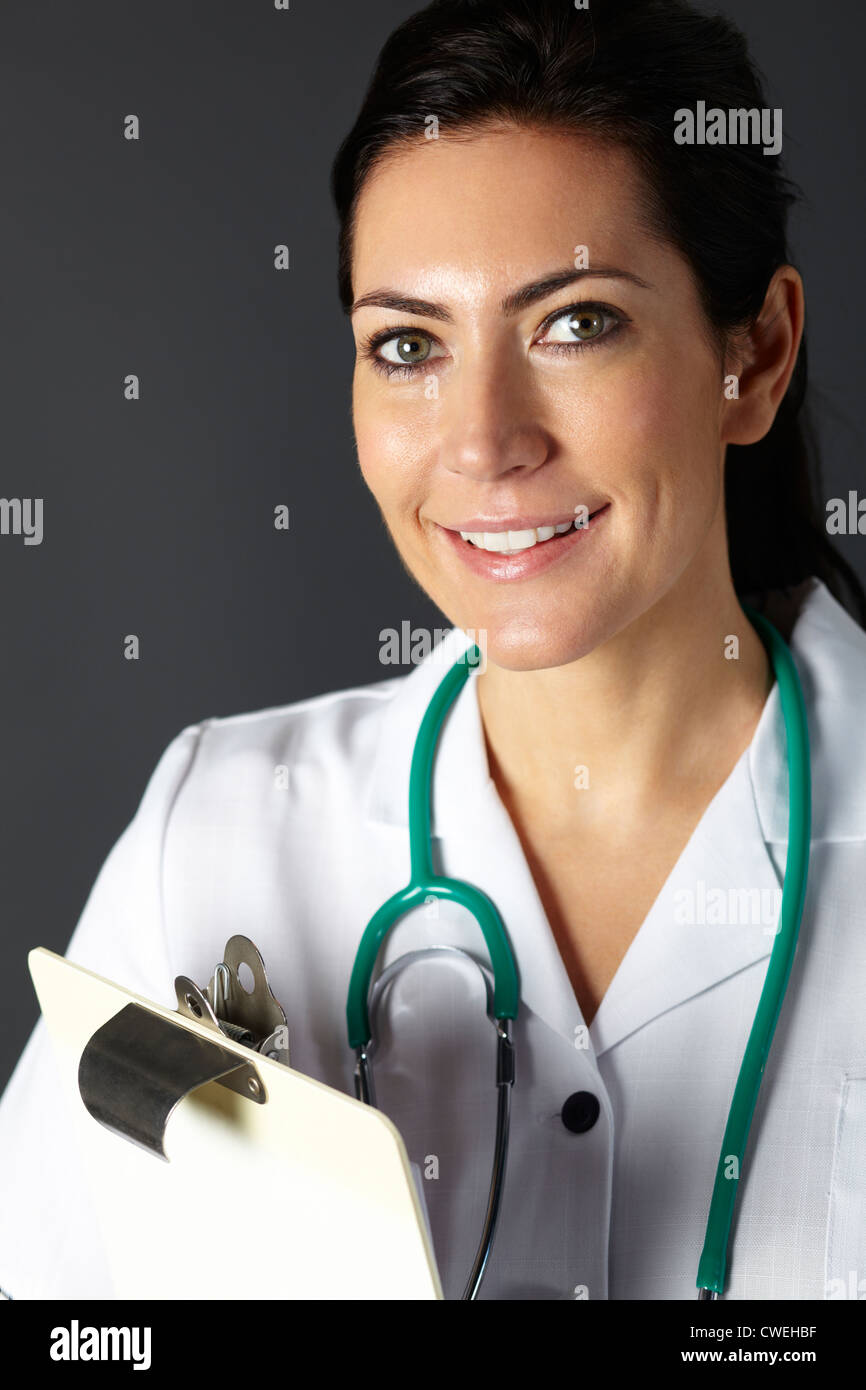 American nurse with stethoscope and clipboard - Stock Image