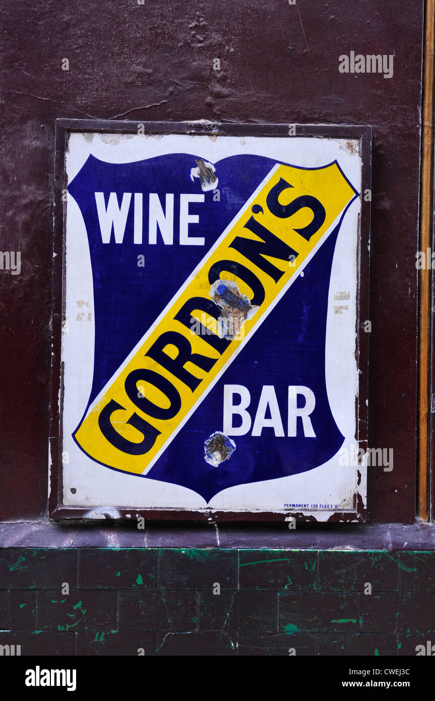 Sign Outside Gordon's Wine Bar, Villiers Street, London - Stock Image