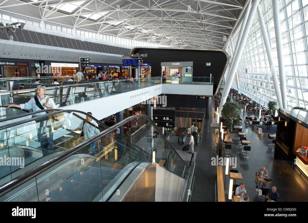 Zurich - Interior view of the Airside Center Kloten Airport - Stock Image