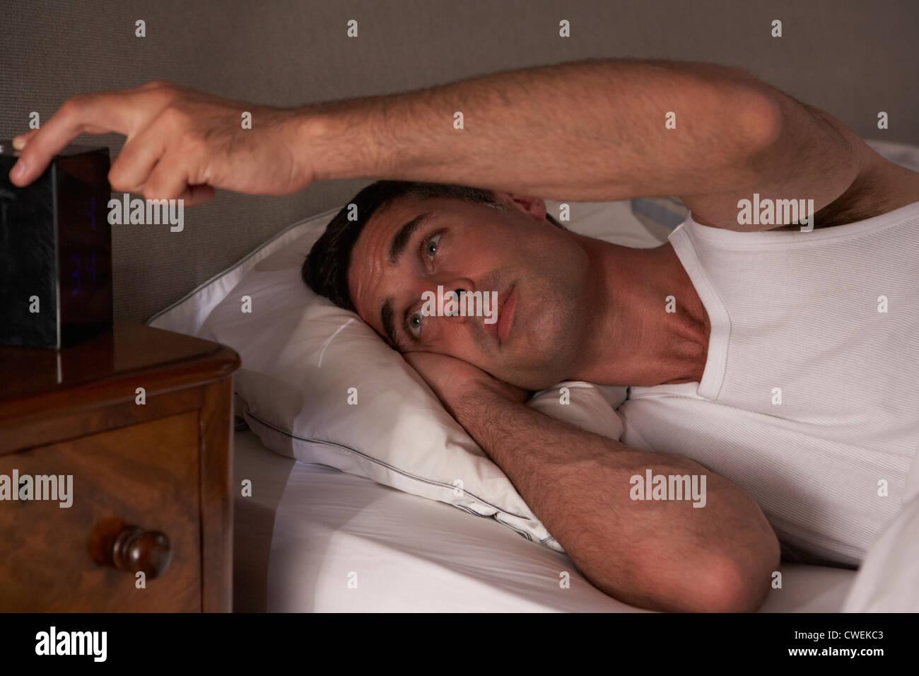 Man unable to sleep - Stock Image