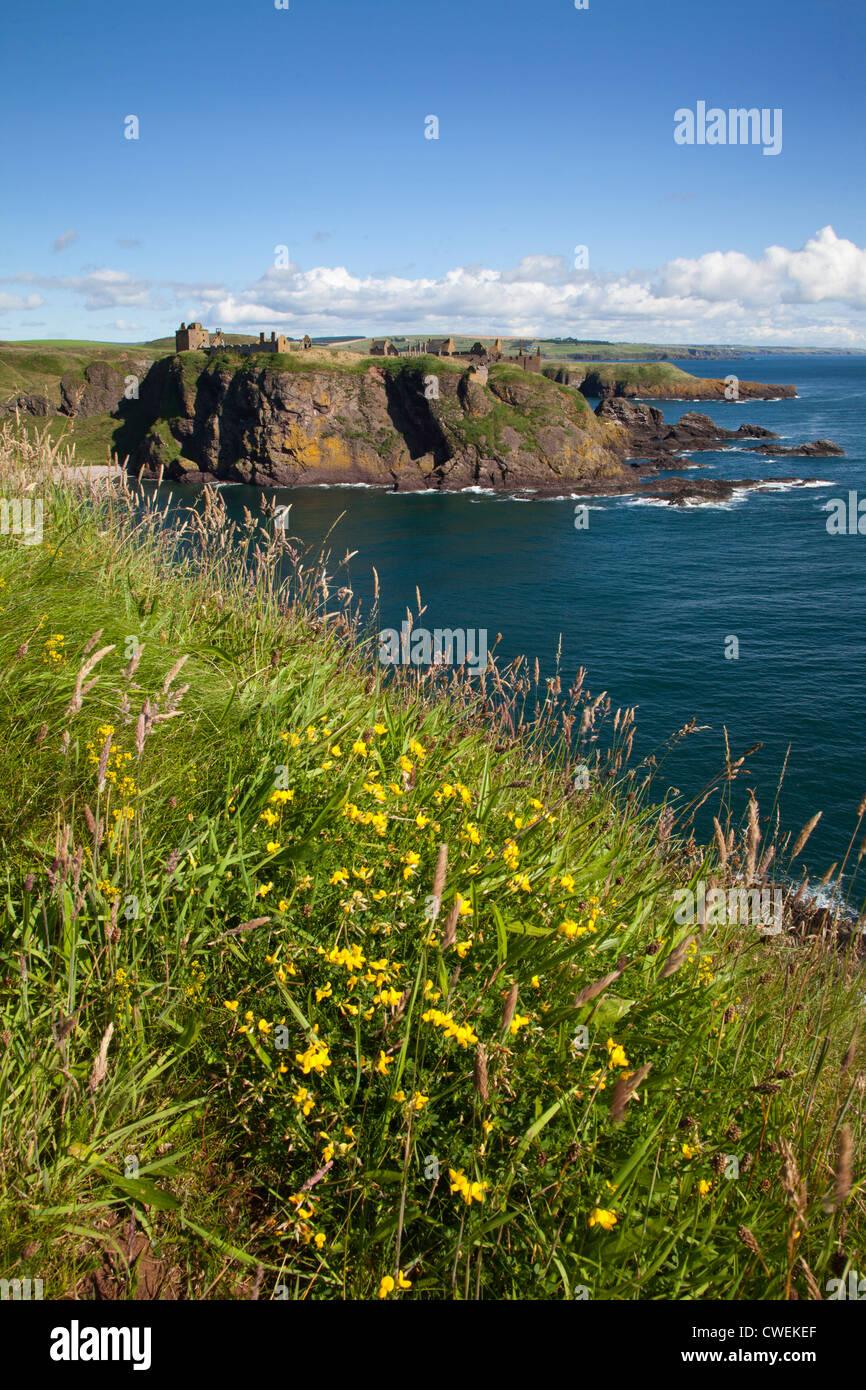 Dunnottar Castle across Old Hall Bay near Stonehaven Aberdeenshire Scotland - Stock Image