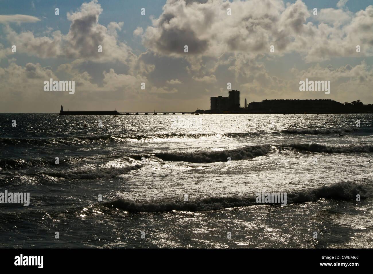 Sunlight on the Atlantic Ocean, France, Europe. - Stock Image