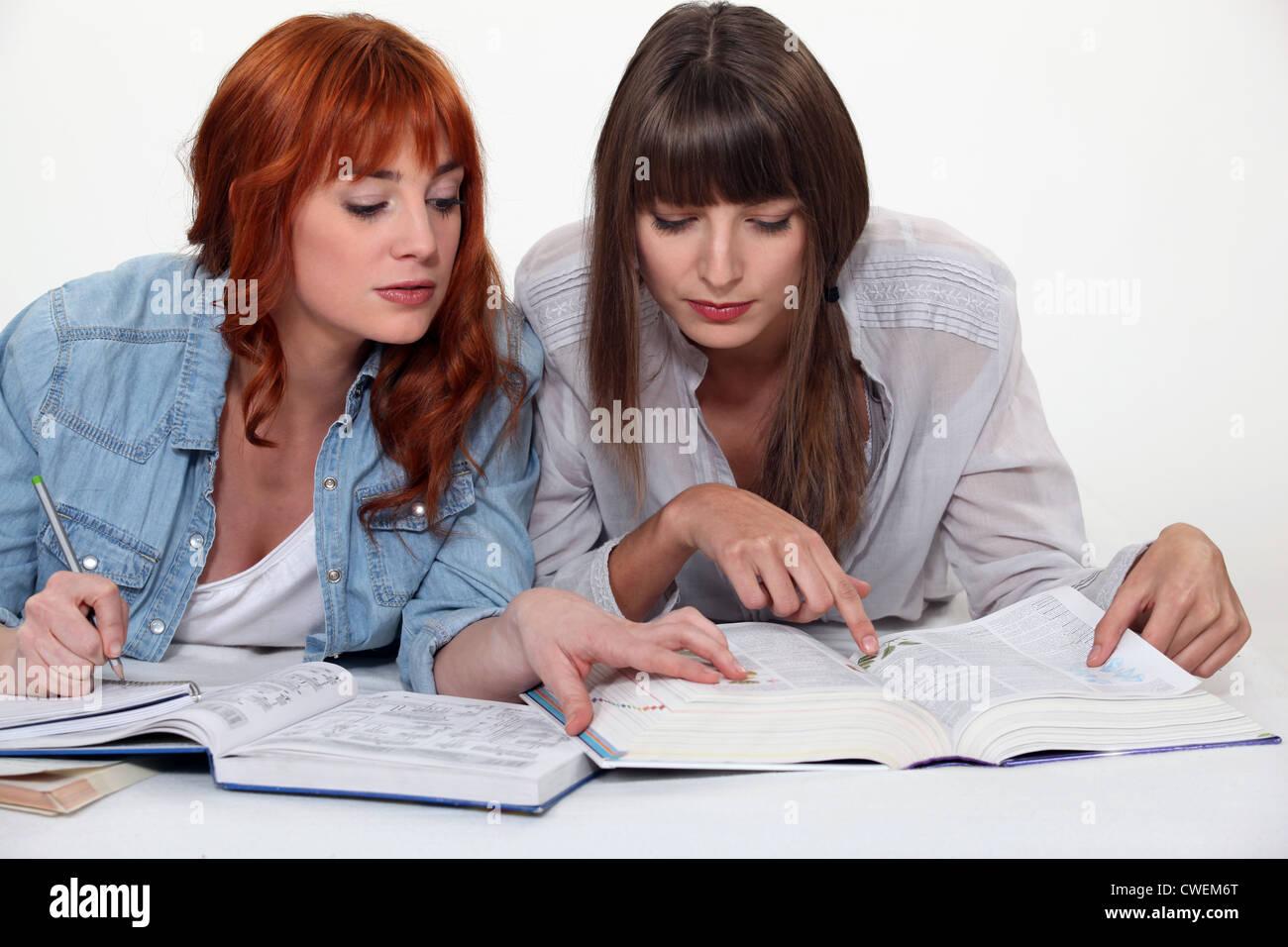 Girls studying - Stock Image
