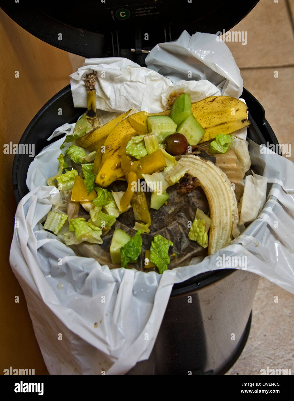 Full garbage can with organic household waste recyclables - Stock Image