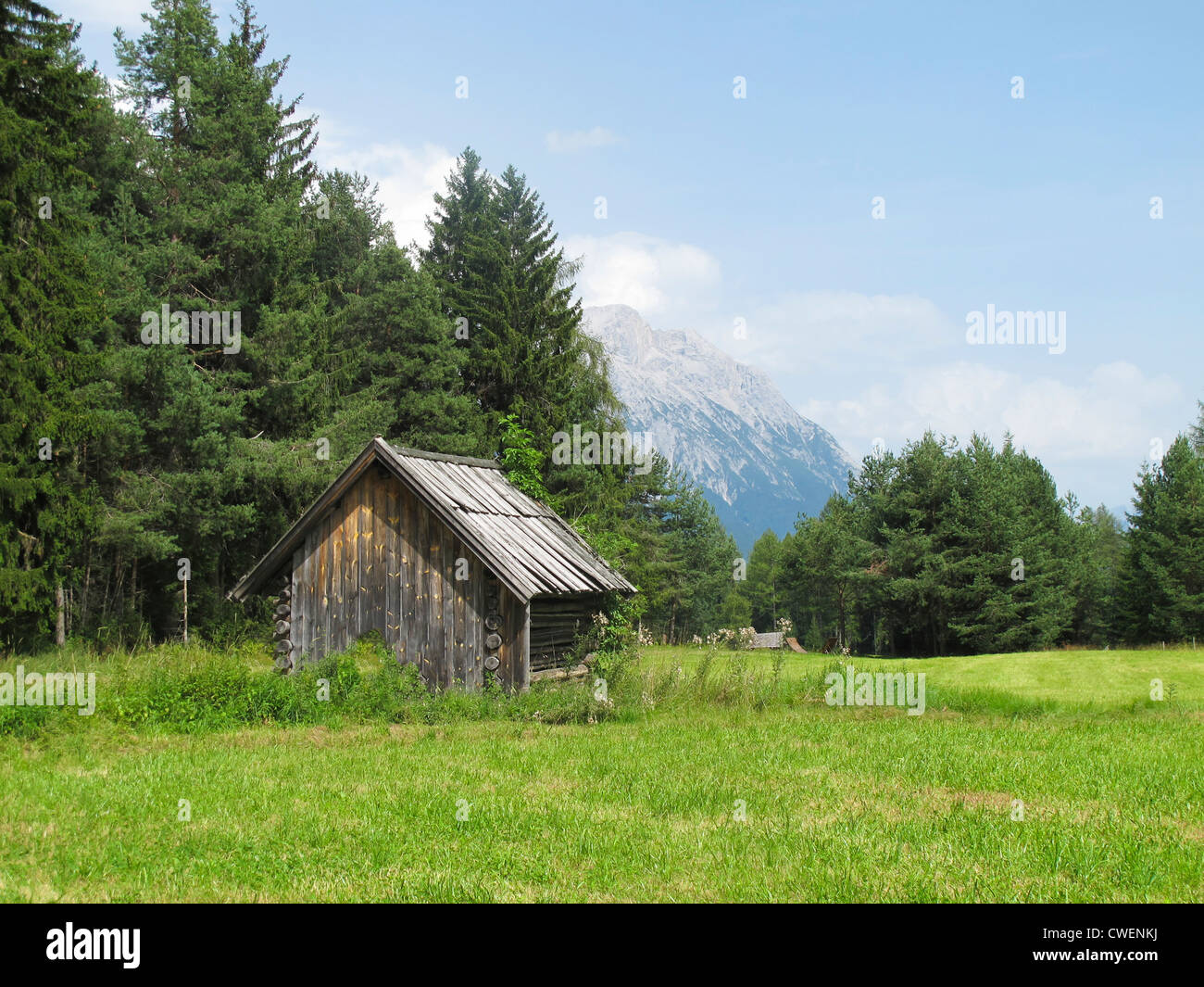 A mountain cabin in the Tyrolean Alps in Obsteig. - Stock Image