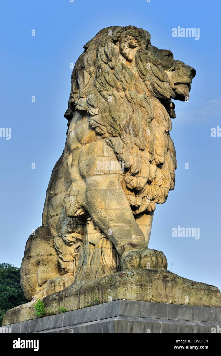 Bouré's monumental lion at the Gileppe Dam / Barrage de la Gileppe, arch-gravity dam in the Belgian Ardennes, Belgium Stock Photo