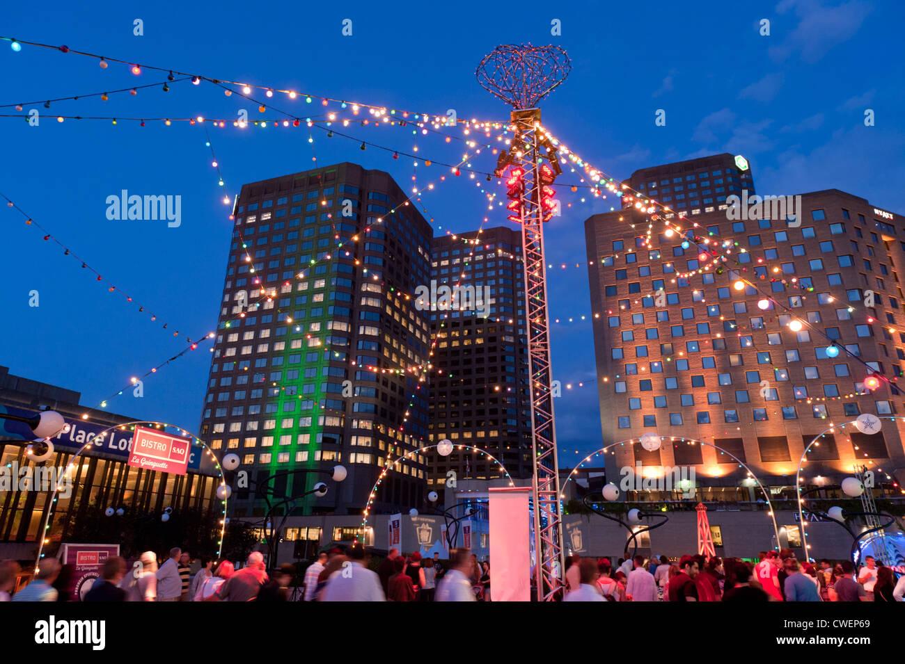 Blue hour, Esplanade de la Place des Arts, Montreal. - Stock Image