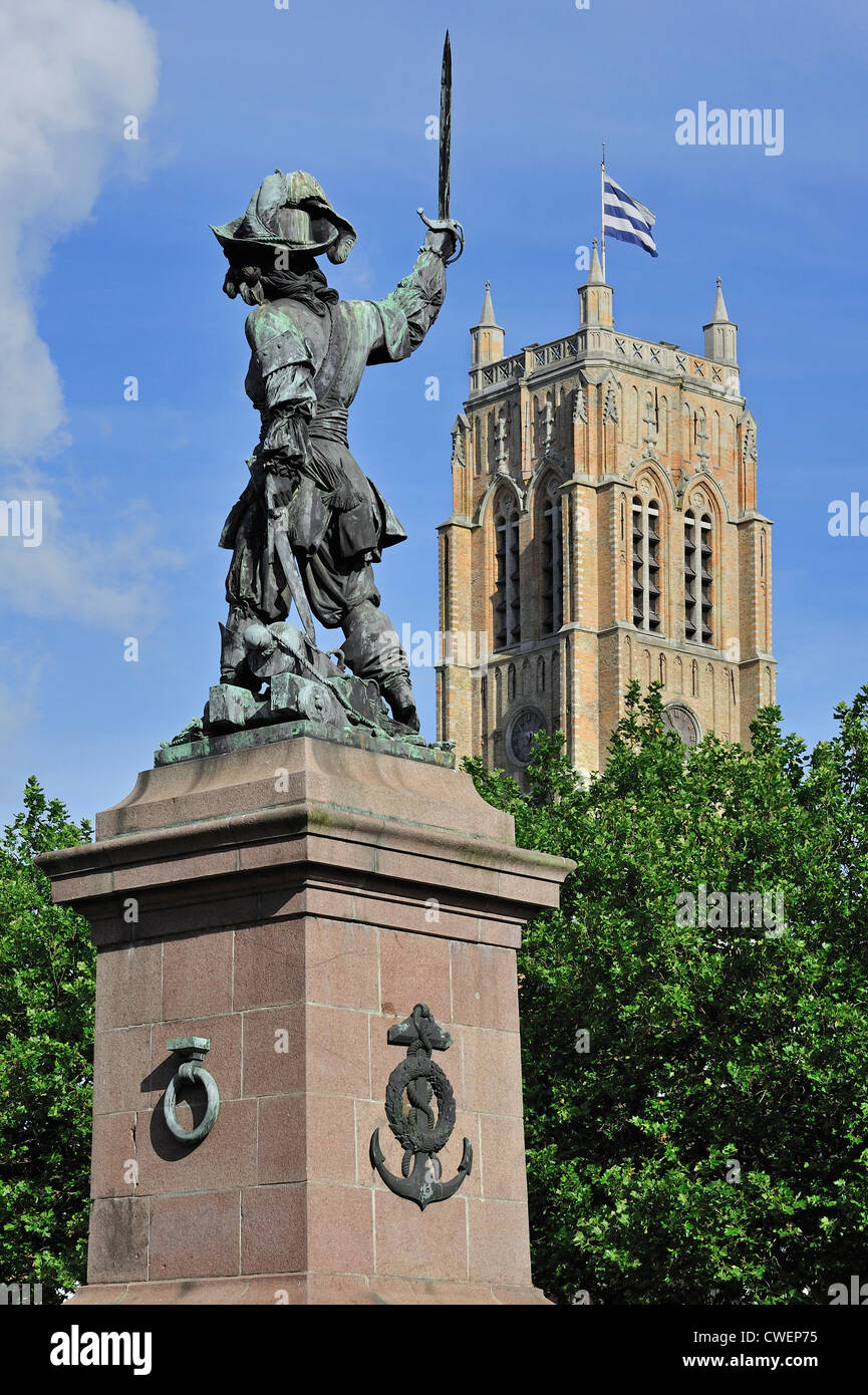 Statue of Jean Bart, naval commander and privateer and the belfry at Dunkirk / Dunkerque, Nord-Pas-de-Calais, France Stock Photo