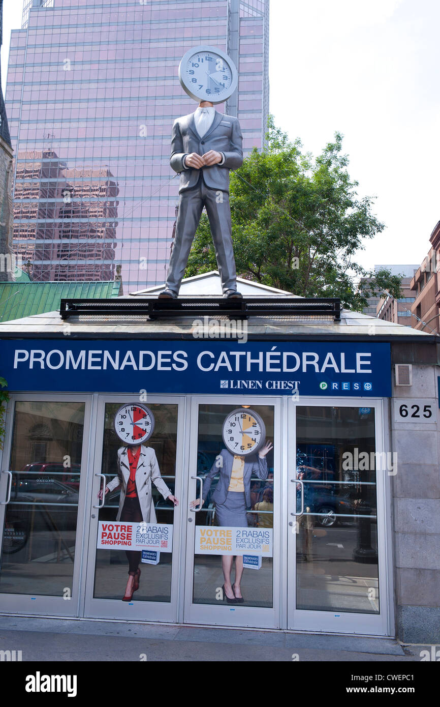 Entrance to Les Promenades de la Cathédrale in downtown Montreal. Stock Photo