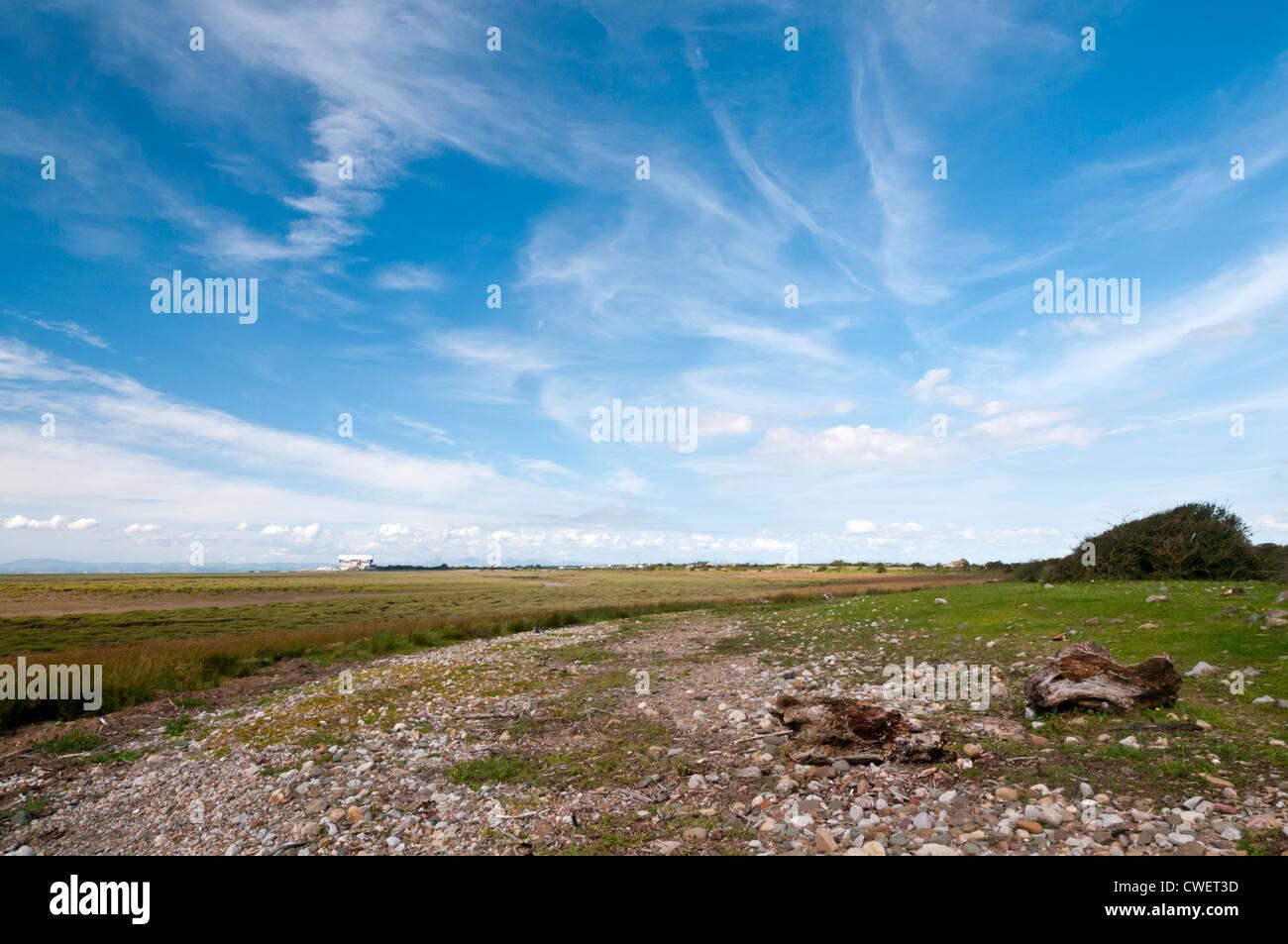 Looking north from Sunderland Point towards Heysham Power Station, Lancashire, England Stock Photo